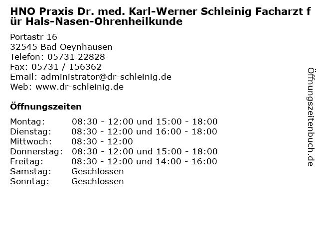 HNO Praxis Dr. med. Karl-Werner Schleinig Facharzt für Hals-Nasen-Ohrenheilkunde in Bad Oeynhausen: Adresse und Öffnungszeiten