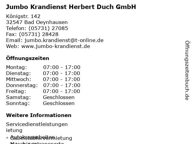 ᐅ öffnungszeiten Jumbo Krandienst Herbert Duch Gmbh Königstr