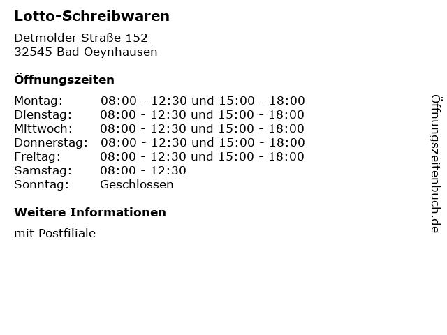 Lotto-Schreibwaren in Bad Oeynhausen: Adresse und Öffnungszeiten