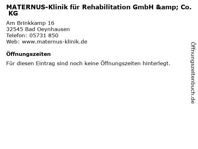 MATERNUS-Klinik für Rehabilitation GmbH & Co. KG in Bad Oeynhausen: Adresse und Öffnungszeiten