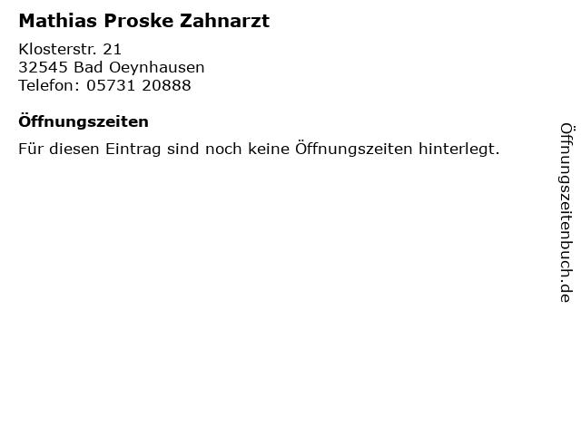 Mathias Proske Zahnarzt in Bad Oeynhausen: Adresse und Öffnungszeiten