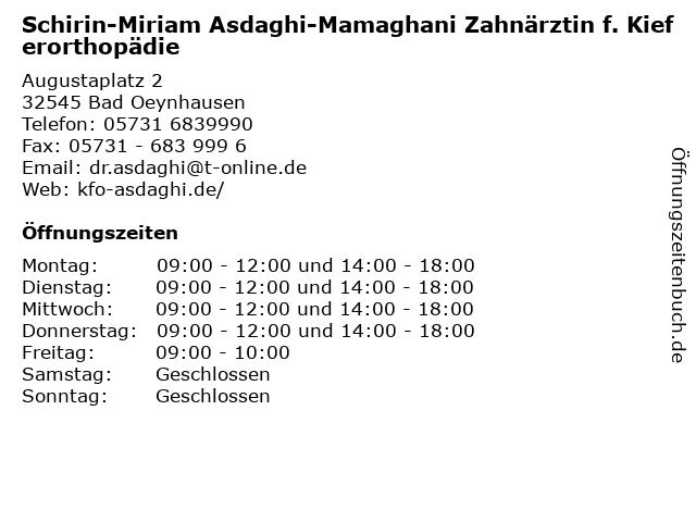 Schirin-Miriam Asdaghi-Mamaghani Zahnärztin f. Kieferorthopädie in Bad Oeynhausen: Adresse und Öffnungszeiten
