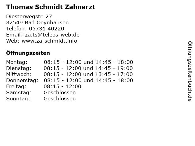 Thomas Schmidt Zahnarzt in Bad Oeynhausen: Adresse und Öffnungszeiten