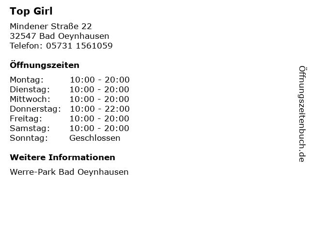 Top Girl in Bad Oeynhausen: Adresse und Öffnungszeiten