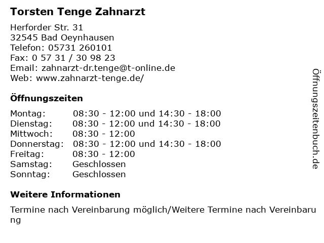 Torsten Tenge Zahnarzt in Bad Oeynhausen: Adresse und Öffnungszeiten