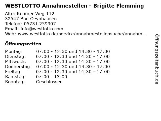 WESTLOTTO Annahmestellen - Brigitte Flemming in Bad Oeynhausen: Adresse und Öffnungszeiten