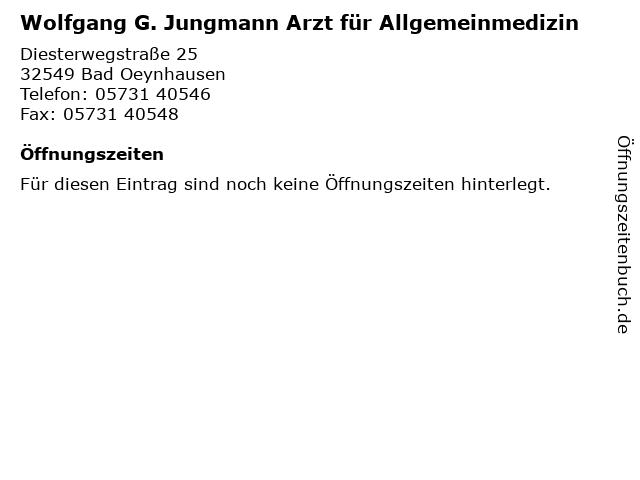 Wolfgang Gottfried Jungmann jun. Facharzt für Allgemeinmedizin in Bad Oeynhausen: Adresse und Öffnungszeiten
