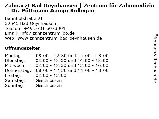 Zahnarzt Bad Oeynhausen | Zentrum für Zahnmedizin | Dr. Püttmann & Kollegen in Bad Oeynhausen: Adresse und Öffnungszeiten