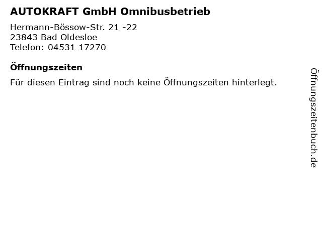 AUTOKRAFT GmbH Omnibusbetrieb in Bad Oldesloe: Adresse und Öffnungszeiten