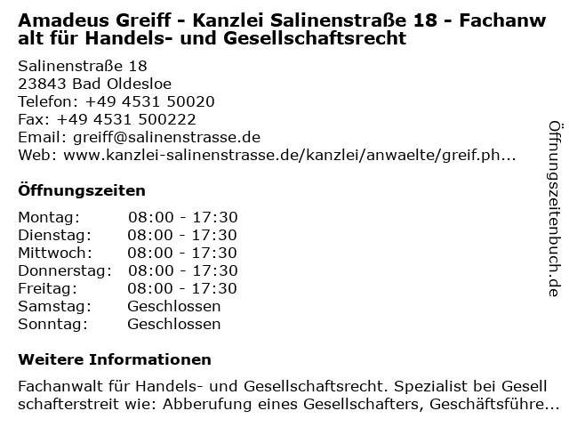 Amadeus Greiff - Kanzlei Salinenstraße 18 - Fachanwalt für Handels- und Gesellschaftsrecht in Bad Oldesloe: Adresse und Öffnungszeiten