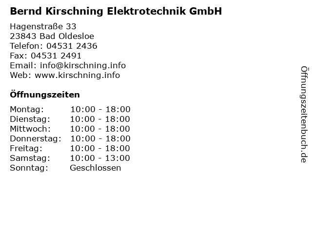 Bernd Kirschning Elektrotechnik GmbH in Bad Oldesloe: Adresse und Öffnungszeiten