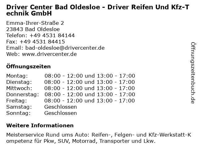 DRIVER CENTER BAD OLDESLOE - DRIVER REIFEN UND KFZ-TECHNIK GMBH in Bad Oldesloe: Adresse und Öffnungszeiten