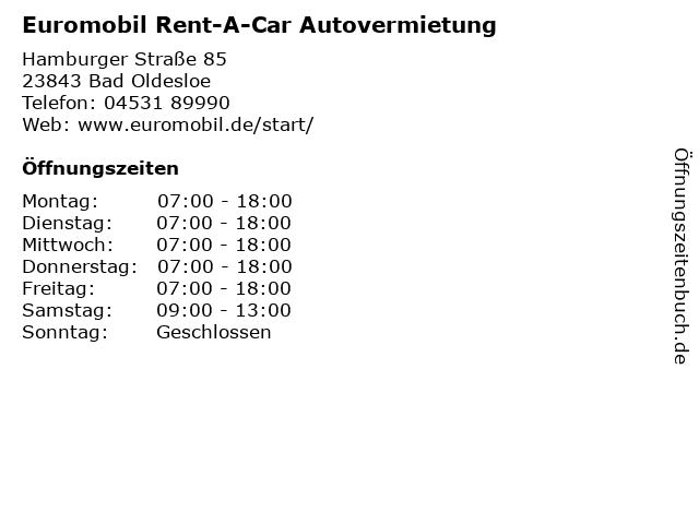 Euromobil Rent-A-Car Autovermietung in Bad Oldesloe: Adresse und Öffnungszeiten