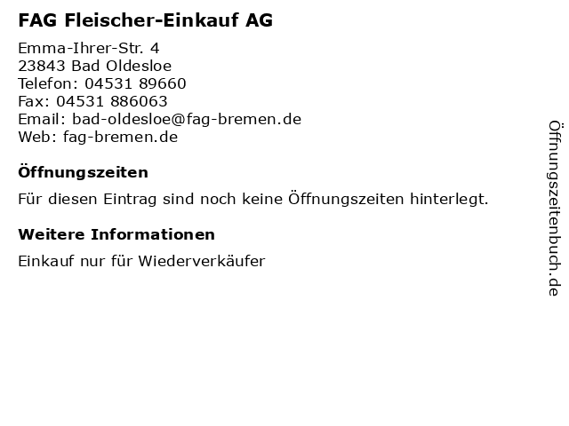 FAG Fleischer-Einkauf AG in Bad Oldesloe: Adresse und Öffnungszeiten