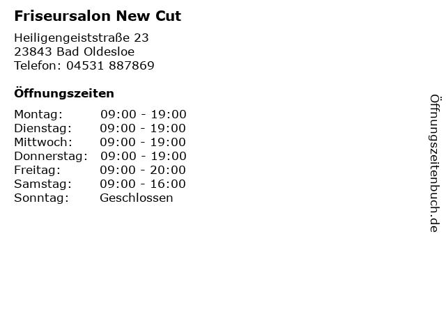 Friseursalon New Cut in Bad Oldesloe: Adresse und Öffnungszeiten