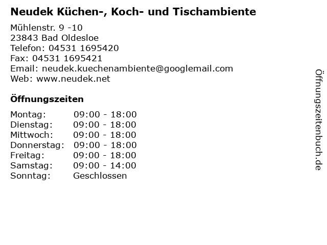 Neudek Küchen-, Koch- und Tischambiente in Bad Oldesloe: Adresse und Öffnungszeiten