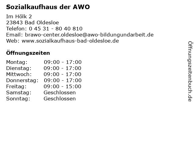 Sozialkaufhaus der AWO in Bad Oldesloe: Adresse und Öffnungszeiten