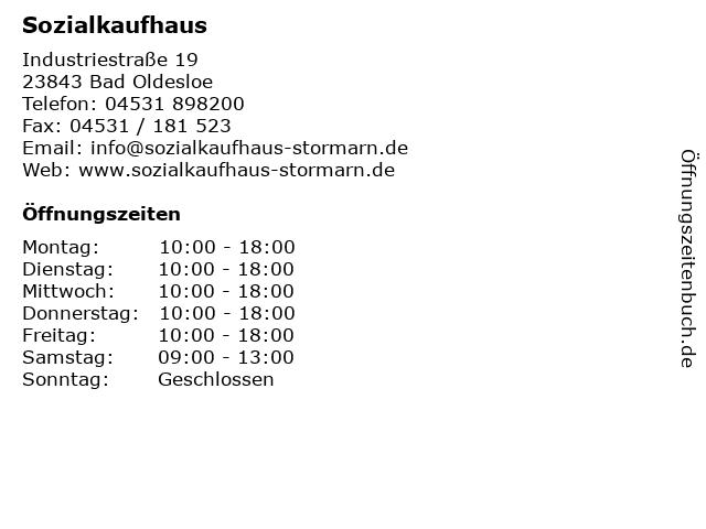 Sozialkaufhaus in Bad Oldesloe: Adresse und Öffnungszeiten