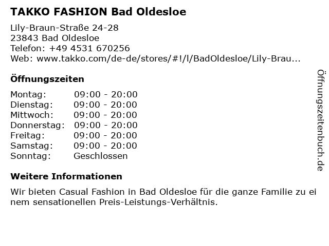 Takko Fashion in Bad Oldesloe: Adresse und Öffnungszeiten