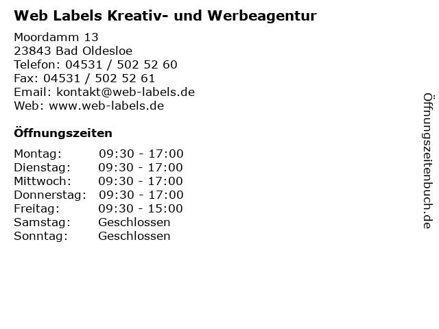 Web Labels Kreativ- und Werbeagentur in Bad Oldesloe: Adresse und Öffnungszeiten
