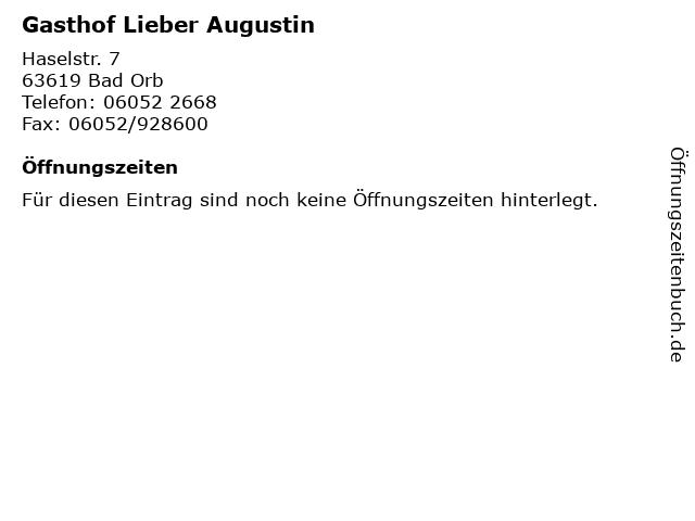 Gasthof Lieber Augustin in Bad Orb: Adresse und Öffnungszeiten