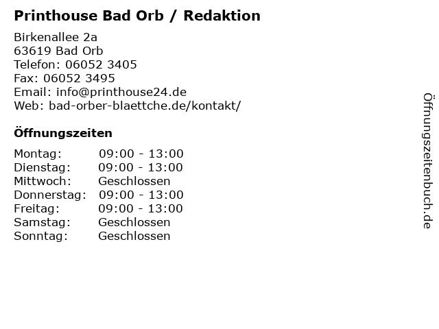 Printhouse Bad Orb / Redaktion in Bad Orb: Adresse und Öffnungszeiten