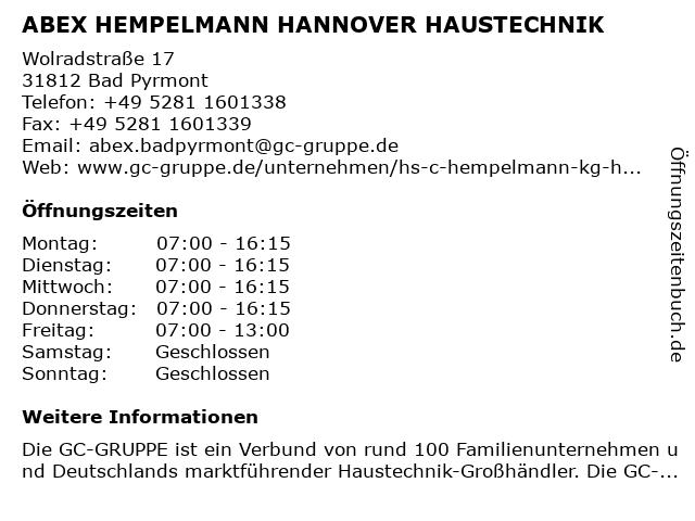 ABEX HEMPELMANN HANNOVER HAUSTECHNIK in Bad Pyrmont: Adresse und Öffnungszeiten