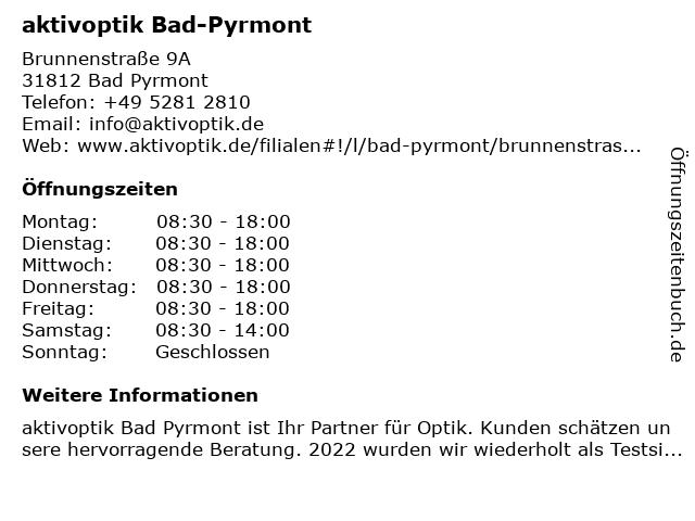 Aktiv Optik in Bad Pyrmont: Adresse und Öffnungszeiten