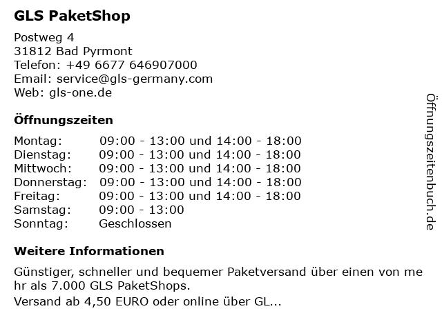 GLS PaketShop in Bad Pyrmont: Adresse und Öffnungszeiten