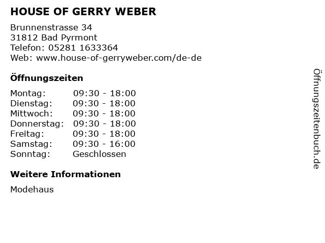 HOUSE OF GERRY WEBER in Bad Pyrmont: Adresse und Öffnungszeiten