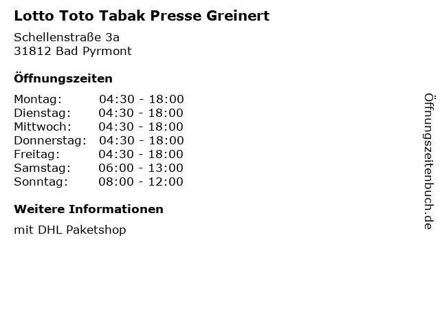 Lotto Toto Tabak Presse Greinert in Bad Pyrmont: Adresse und Öffnungszeiten