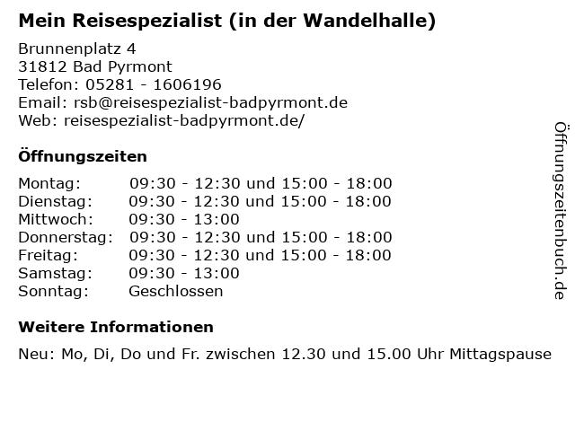 Mein Reisespezialist (in der Wandelhalle) in Bad Pyrmont: Adresse und Öffnungszeiten