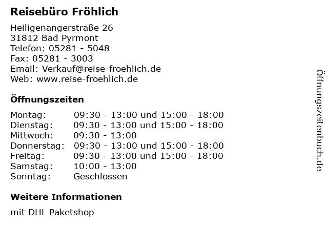 Reisebüro Fröhlich in Bad Pyrmont: Adresse und Öffnungszeiten