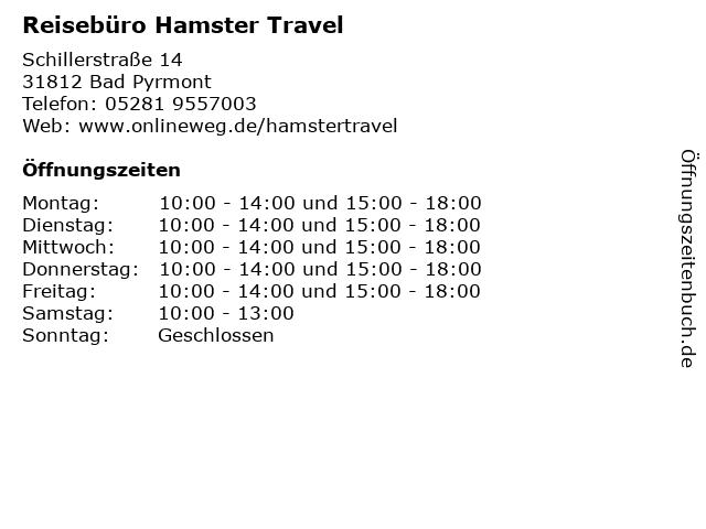 Reisebüro Hamster Travel in Bad Pyrmont: Adresse und Öffnungszeiten