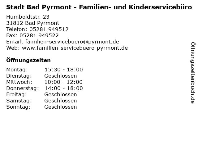 Stadt Bad Pyrmont - Familien- und Kinderservicebüro in Bad Pyrmont: Adresse und Öffnungszeiten
