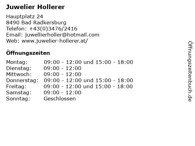 Juwelier Hollerer in Bad Radkersburg: Adresse und Öffnungszeiten