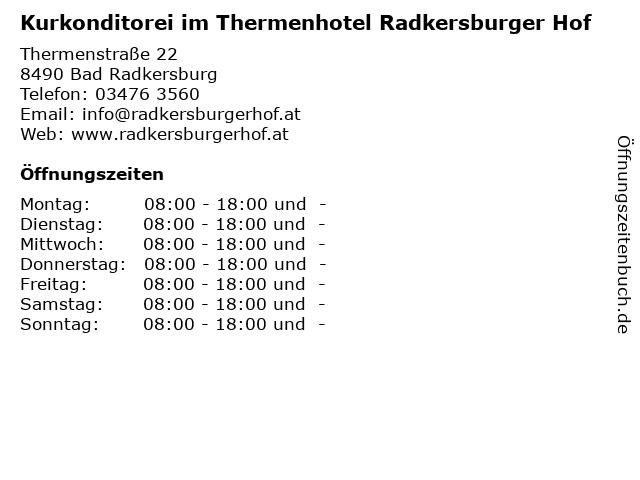 Kurkonditorei im Thermenhotel Radkersburger Hof in Bad Radkersburg: Adresse und Öffnungszeiten