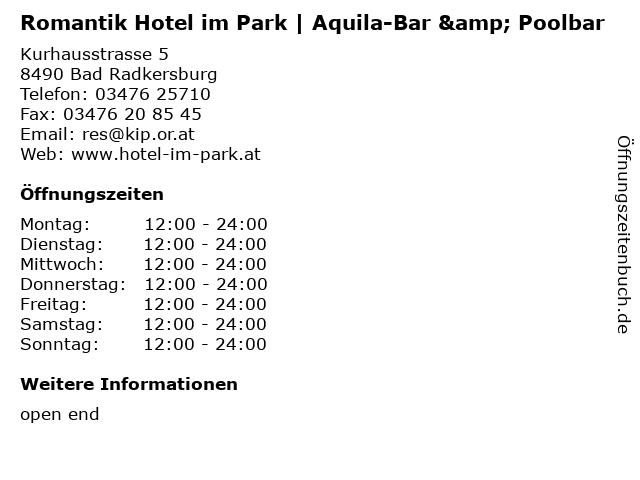 Romantik Hotel im Park | Aquila-Bar & Poolbar in Bad Radkersburg: Adresse und Öffnungszeiten
