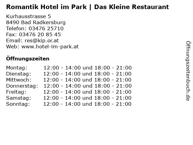Romantik Hotel im Park | Das Kleine Restaurant in Bad Radkersburg: Adresse und Öffnungszeiten
