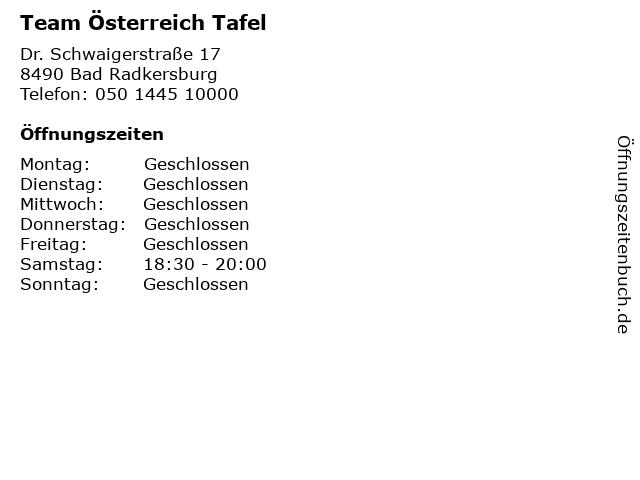 Team Österreich Tafel in Bad Radkersburg: Adresse und Öffnungszeiten