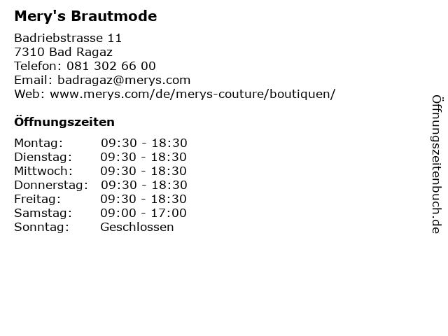 ᐅ Offnungszeiten Mery S Brautmode Badriebstrasse 11 In Bad Ragaz