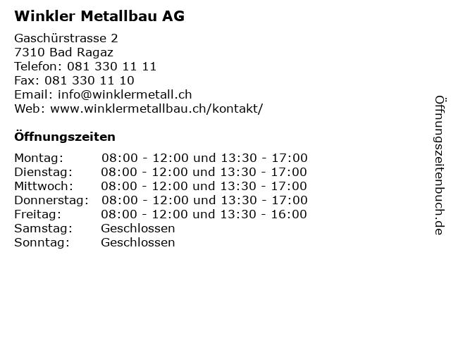 Winkler Metallbau AG in Bad Ragaz: Adresse und Öffnungszeiten