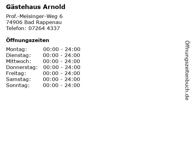Gästehaus Arnold in Bad Rappenau: Adresse und Öffnungszeiten