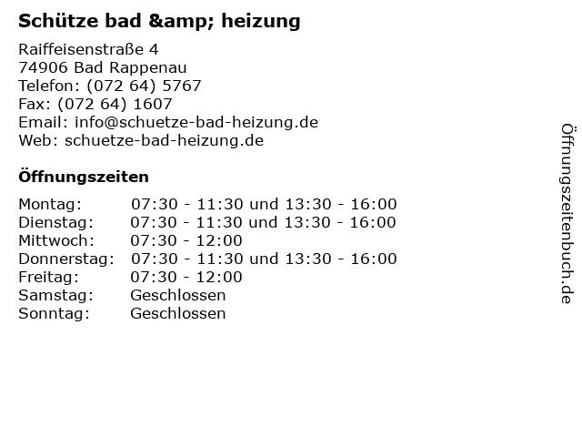 Schütze bad & heizung in Bad Rappenau: Adresse und Öffnungszeiten