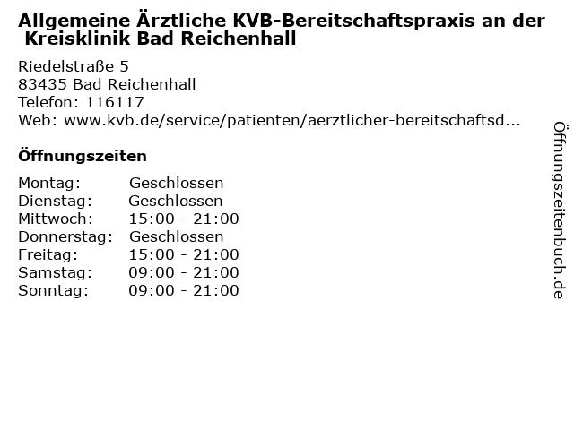 Allgemeine Ärztliche KVB-Bereitschaftspraxis an der Kreisklinik Bad Reichenhall in Bad Reichenhall: Adresse und Öffnungszeiten
