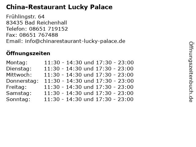 China-Restaurant Lucky Palace in Bad Reichenhall: Adresse und Öffnungszeiten