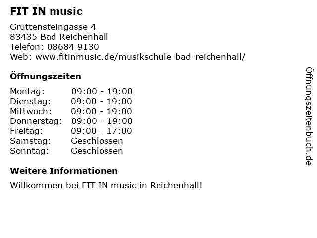 FIT IN music in Bad Reichenhall: Adresse und Öffnungszeiten