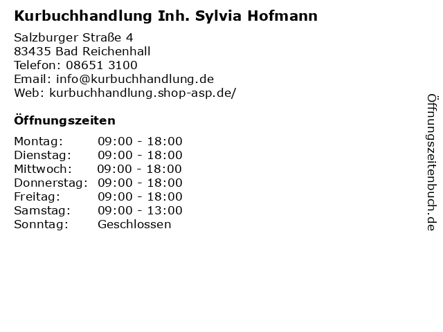 Kurbuchhandlung Inh. Sylvia Hofmann in Bad Reichenhall: Adresse und Öffnungszeiten
