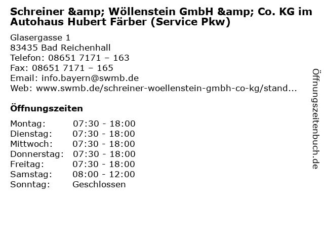 Schreiner & Wöllenstein GmbH & Co. KG im Autohaus Hubert Färber (Service Pkw) in Bad Reichenhall: Adresse und Öffnungszeiten