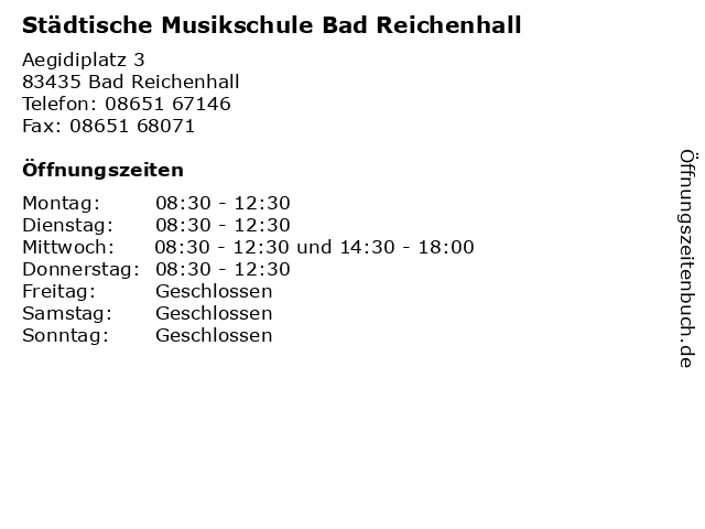 Städtische Musikschule Bad Reichenhall in Bad Reichenhall: Adresse und Öffnungszeiten